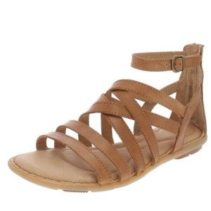 Born Giverny Gladiator Sandals Strappy Tan Leather